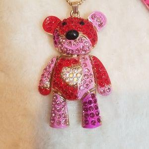 Jewelry - Lovely Movable Bear Pink Crystal Rhinestone Neckla